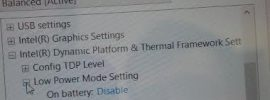 power option for acer iconia - intel dynamic platform and thermal framework settings