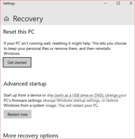 2 - settings reset this PC