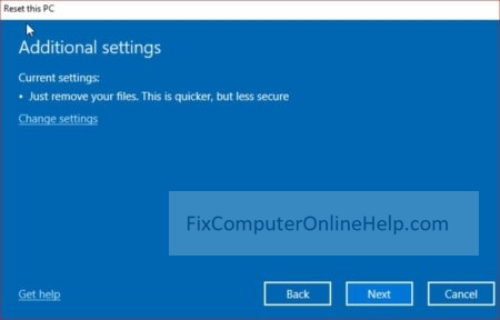 4 - reset this pc - confirmation page