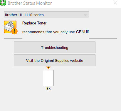brother status monitor replace toner