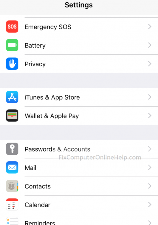 iphone settings passwords and accounts