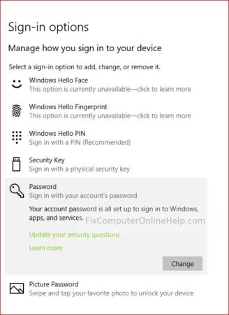 windows 10 settings sign in option