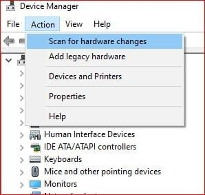 device manager - scan for hardware changes