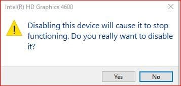 disable device warning prompt
