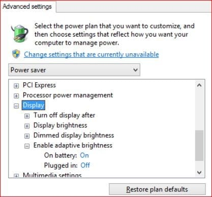 power option - advanced - enable adaptive brightness