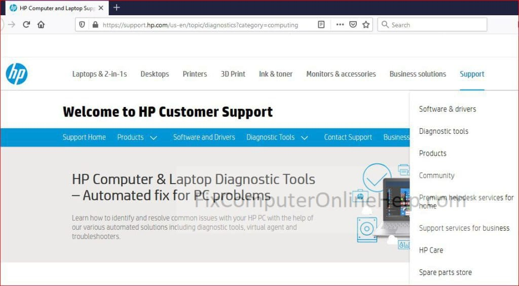 HP website for more support
